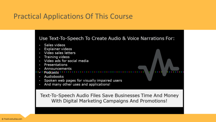 Text-To-Speech Course - PositiveAudios.com